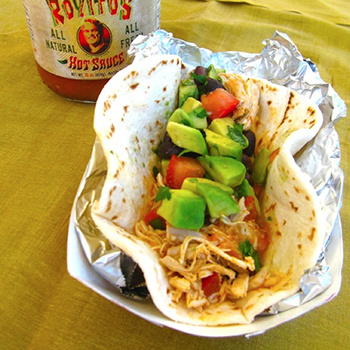 ROYITO'S SHREDDED CHICKEN TACOS & AVOCADO BLACK BEAN SALSA